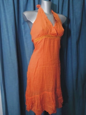 VESTITO LINO ORANGE TG.M/L